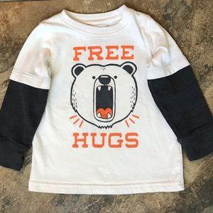 Toddler boy bear design white and gray shirt